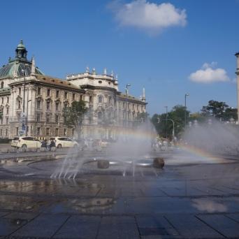 Karlsplatz complete with a rainbow
