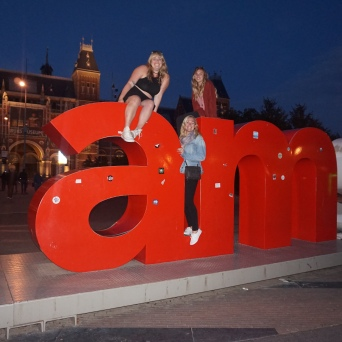 Chelsea, Bridget, and I on the iamsterdam sign