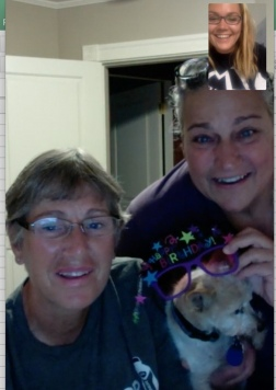 FaceTiming with Auntie Anne, Gen, and Minnie