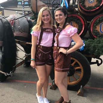 Nicole and I in front of the horses that bring the kegs to the tents