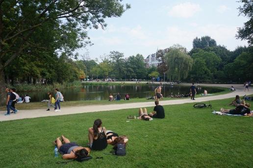 Sunbathers in Vondelpark